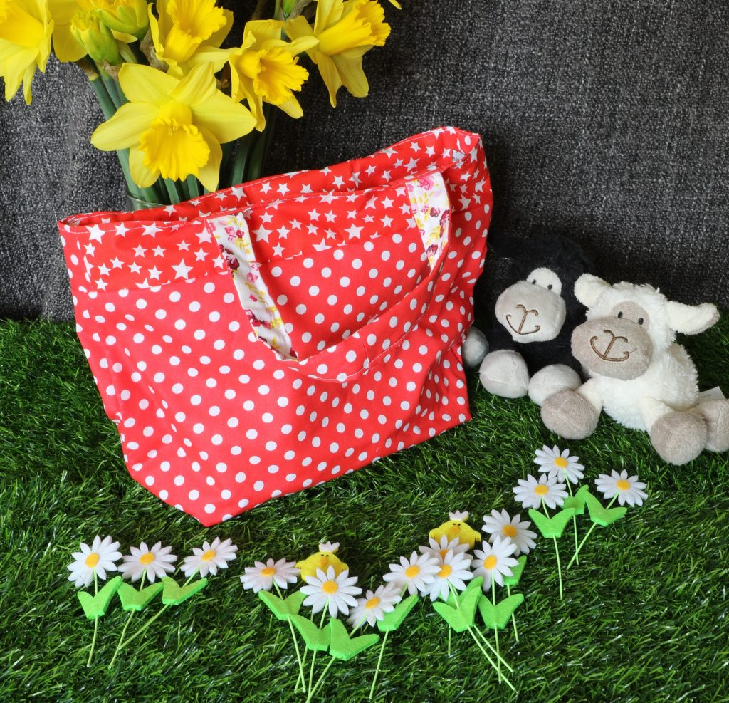 Tote bag - red polka dot