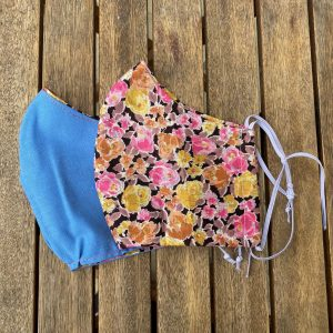 Floral silk, shaped with blue lining