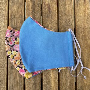Blue cotton, shaped with floral silk lining