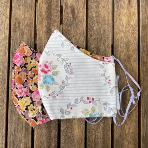 White floral cotton, shaped with floral silk lining